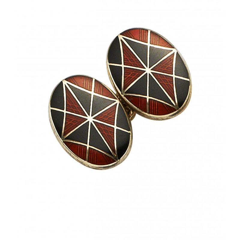 Silver and enamel kite chain link cufflinks