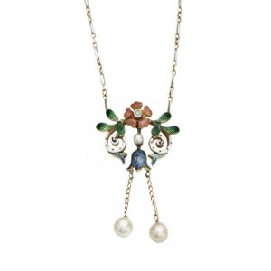 La Belle Epoque Enamel, Pearl and Diamond Necklace