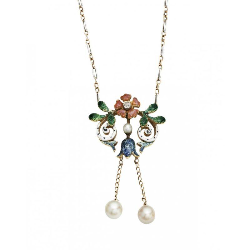 La Belle Epoque Enamel, Pearl and Diamond Necklace
