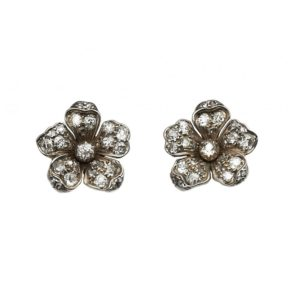 Victorian Diamond Flower Stud Earrings