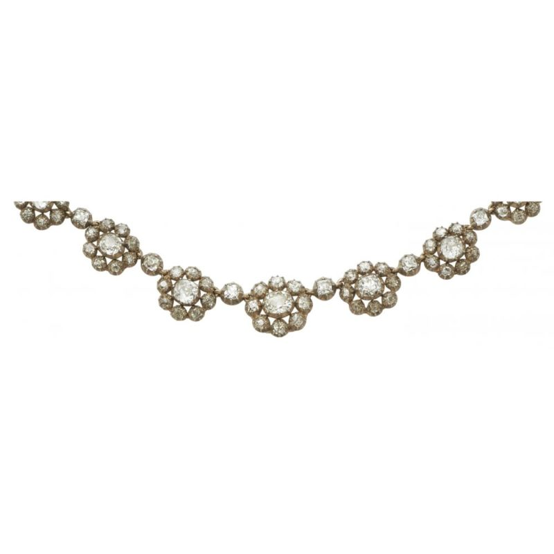 Victorian diamond cluster necklace