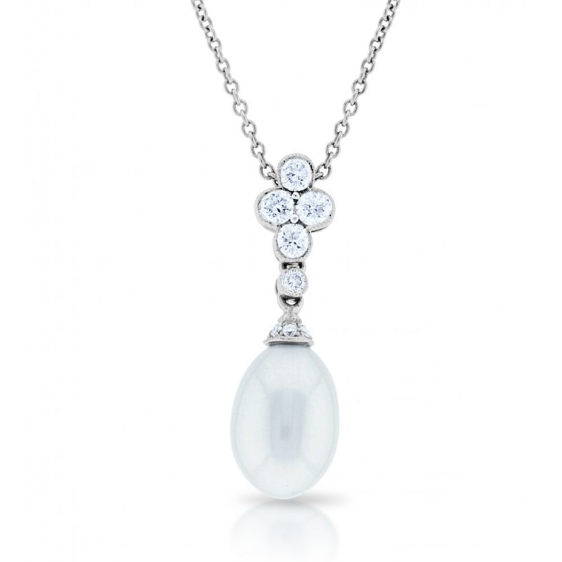 18ct white gold pearl and diamond drop pendant