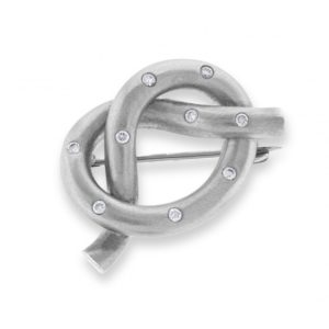 18ct white gold diamond set knot brooch