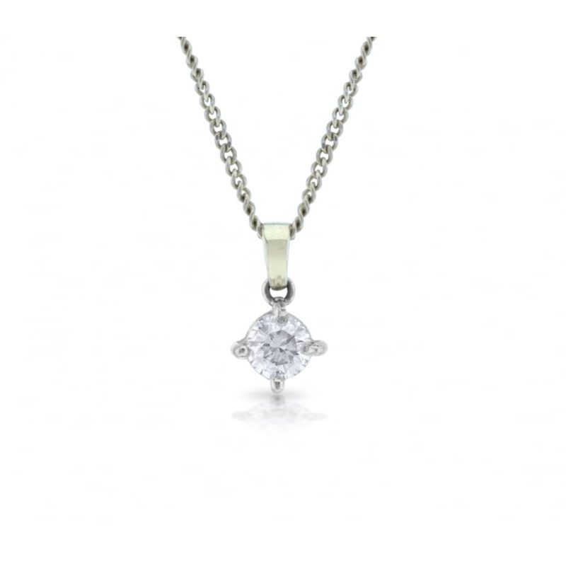 Four claw set round brilliant cut diamond pendant