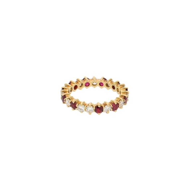 18ct yellow gold ruby and diamond full eternity ring