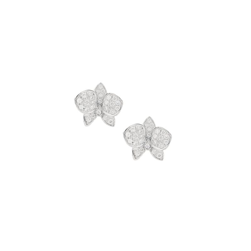 18ct white gold diamond set lotus flower ear studs