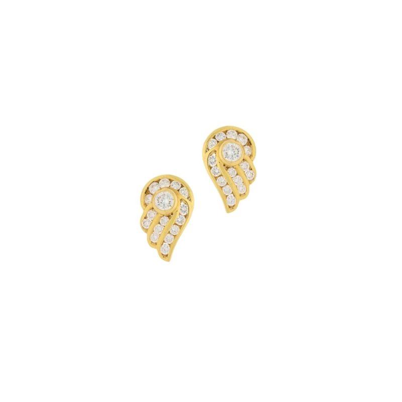 18ct gold diamond wing studs