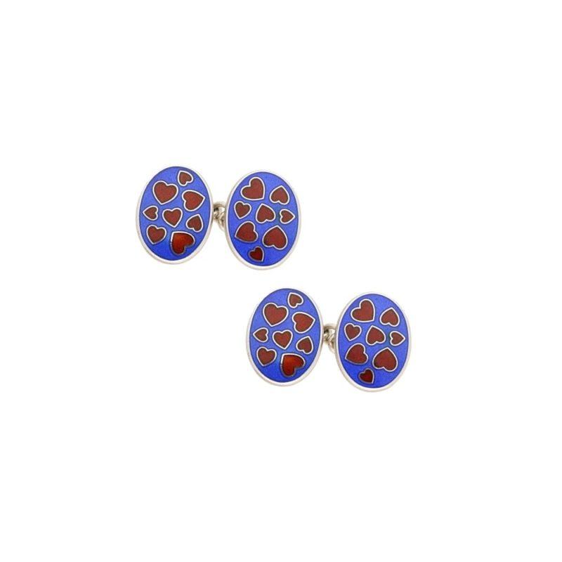 Sterling silver blue enamel heart chain link cufflinks