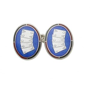 Sterling silver and enamel poker cards chain link cufflinks