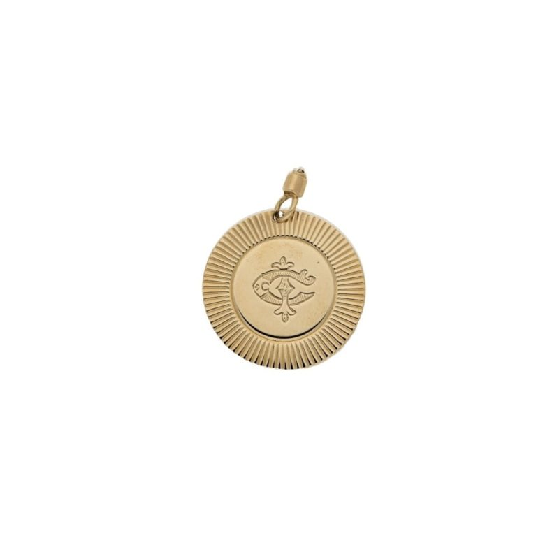 A vintage 9ct gold round pendant with monogram
