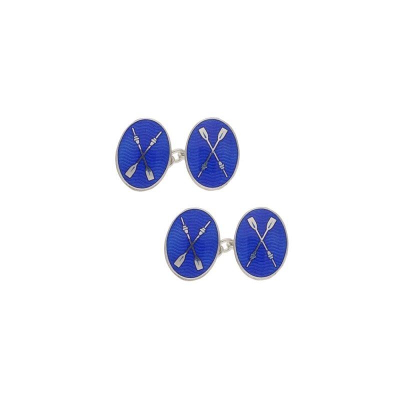 Sterling silver and enamel blue rowing oar chain link cufflinks