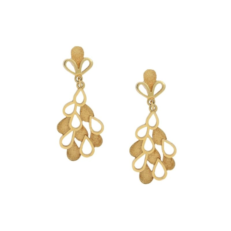 18ct yellow gold cut out drop earrings