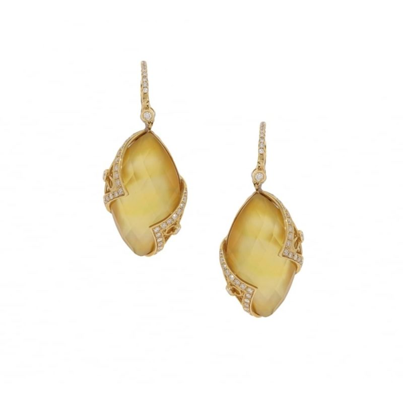Lemon quartz and diamond drop earrings in yellow gold