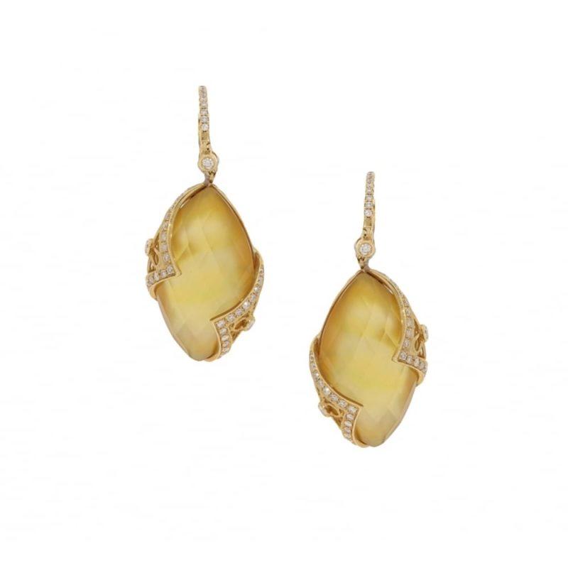 Lemon quartz and diamond drop earrings in yellow gold