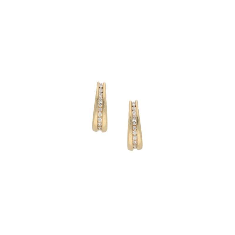 14ct yellow gold diamond set earrings