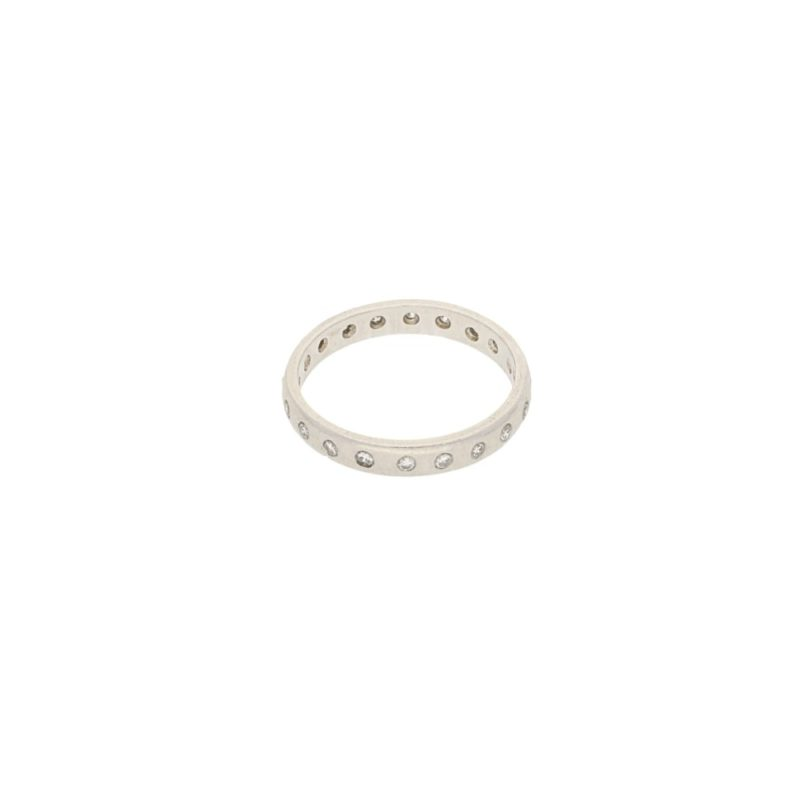 Diamond set platinum band ring