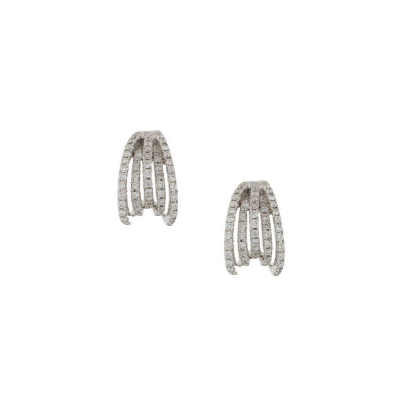 18ct white gold diamond set spray earrings