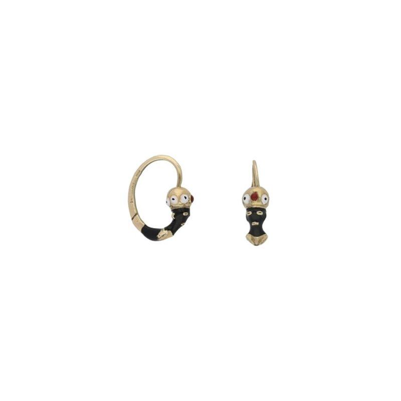 Art Nouveau Blackamoor gold enamel earrings