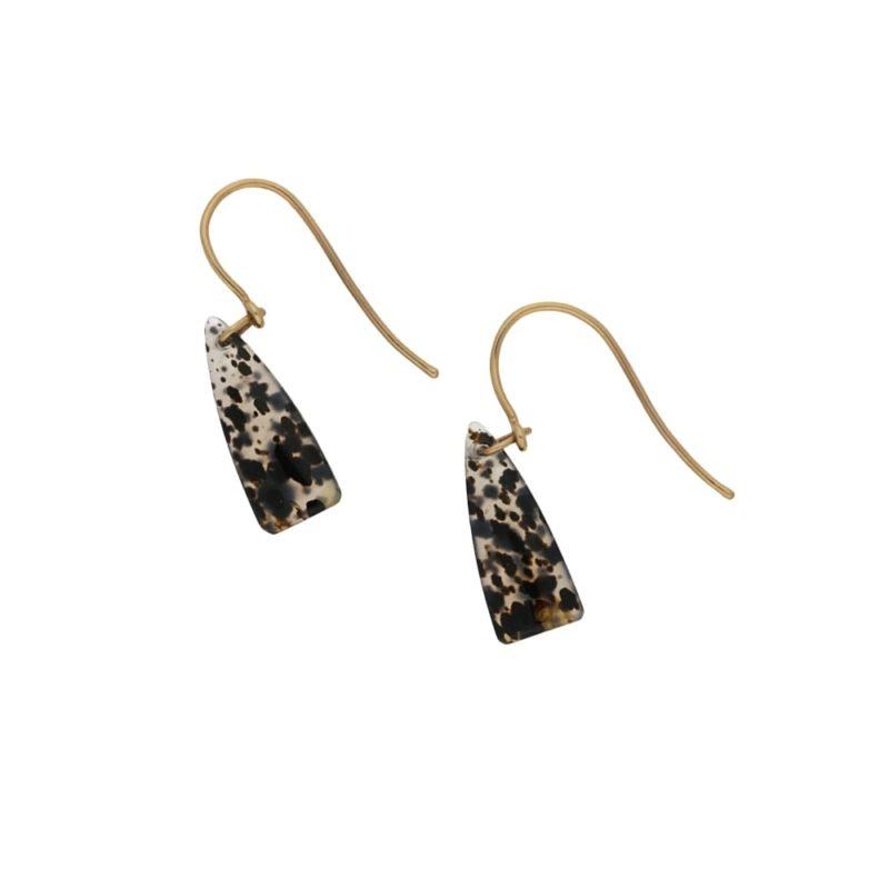 9ct gold agate drop earrings
