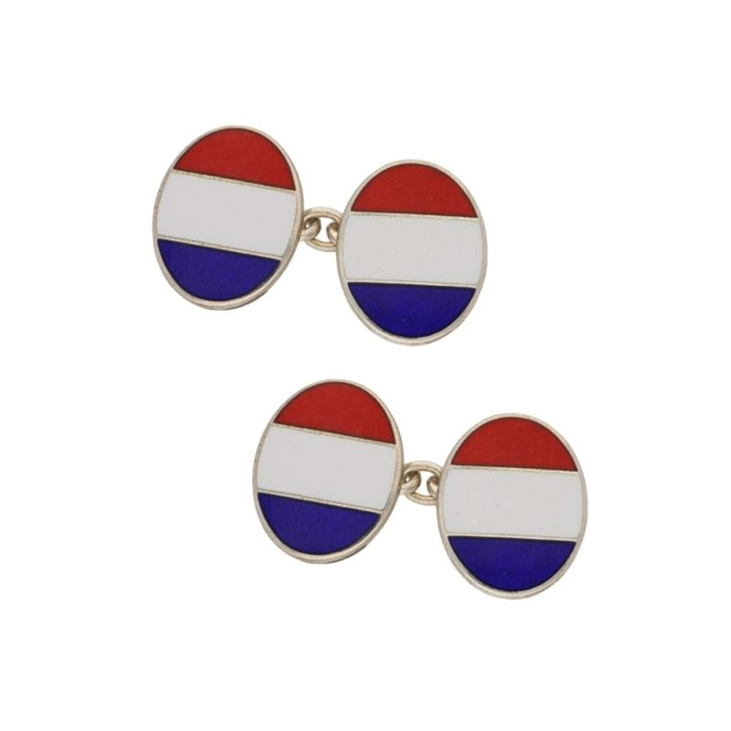 Sterling silver and enamel French flag chain link cufflinks