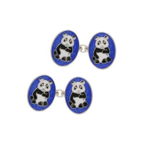 Sterling silver and enamel panda bear oval chain link cufflinks