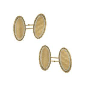 14k French gold enamel cufflinks