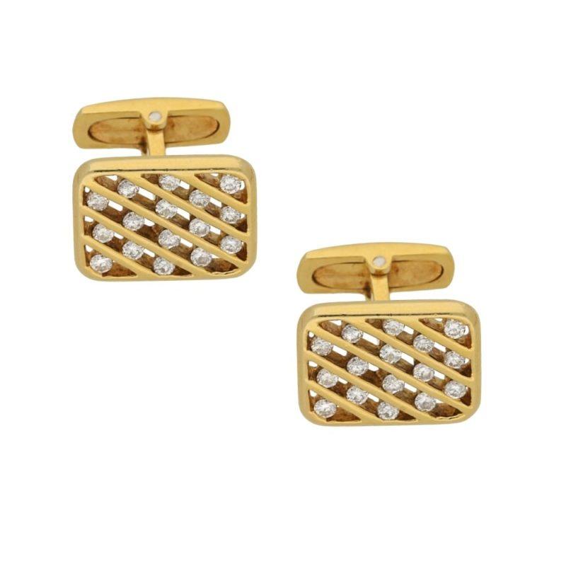 18ct yellow gold diamond cross hatch cufflinks