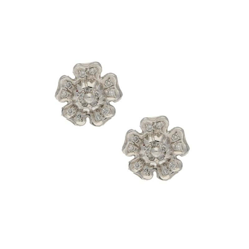 18ct white gold diamond set Tudor rose ear studs