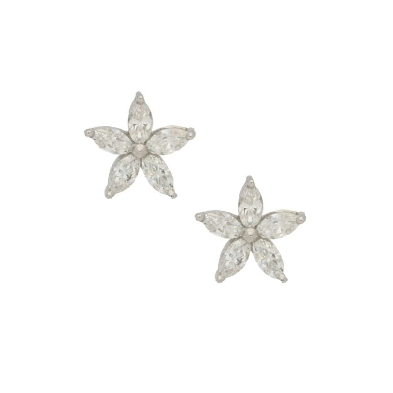 18ct white gold marquise cut diamond flower ear studs