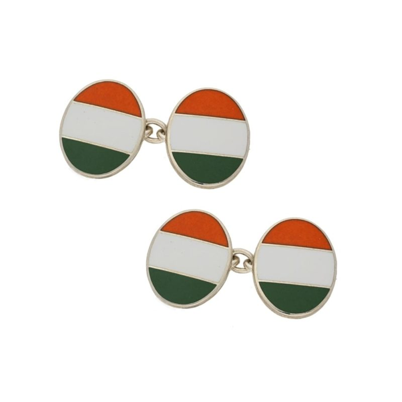 Silver and enamel Irish flag cufflinks