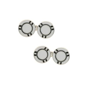 Sterling silver white and black enamel poker chip cufflinks