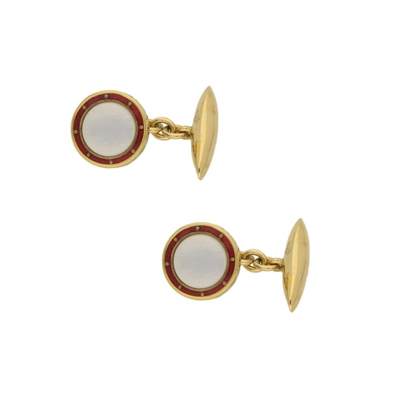 1950's mother of pearl and red enamel chain link cufflinks