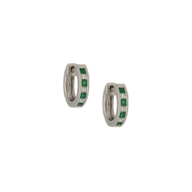 18k emerald diamond hoop huggy earrings