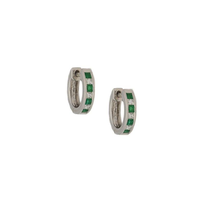 18k emerald diamond hoop huggy earrings