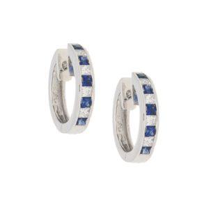 18ct sapphire diamond hoop huggy earrings