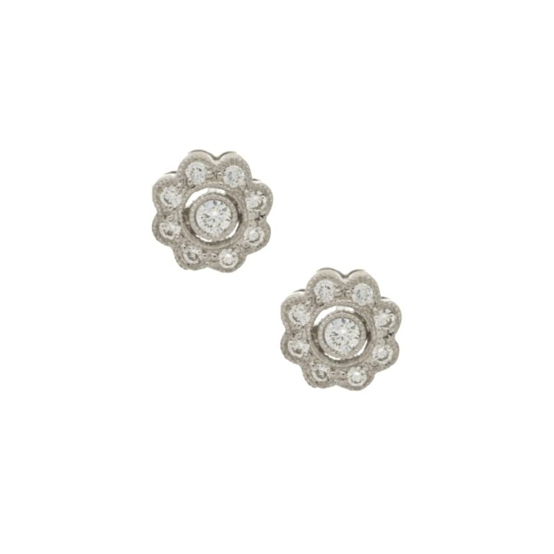 18ct white gold diamond set floral cluster ear studs