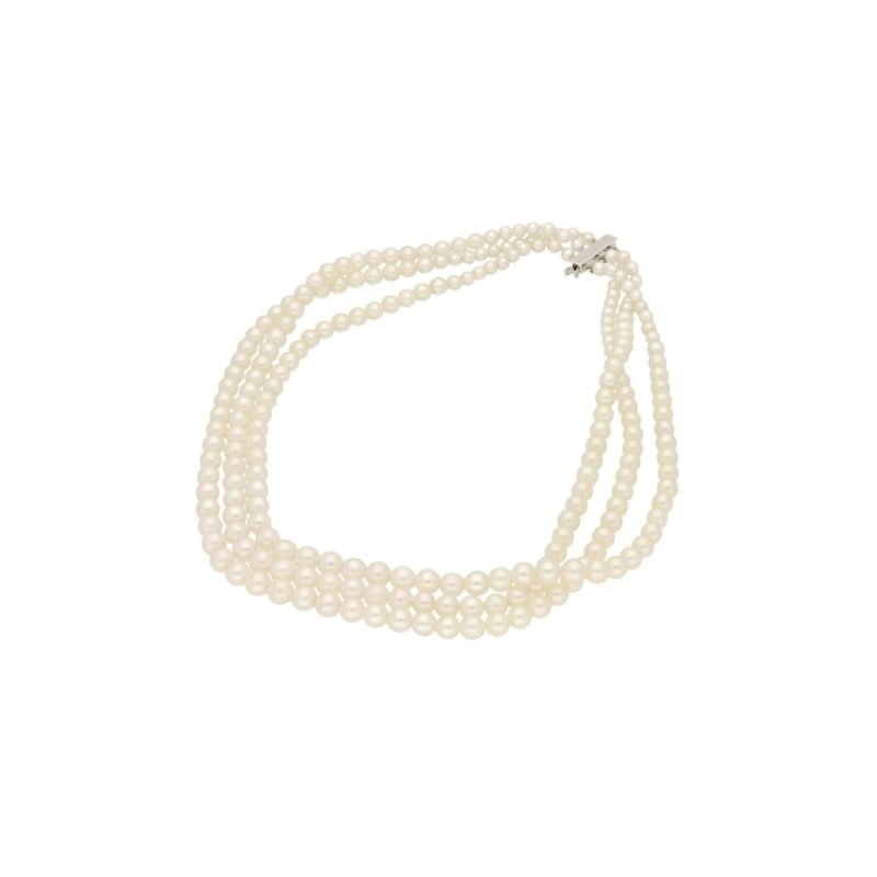 18ct gold three row pearl necklace