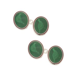 Sterling silver and enamel green pheasant chain link cufflinks