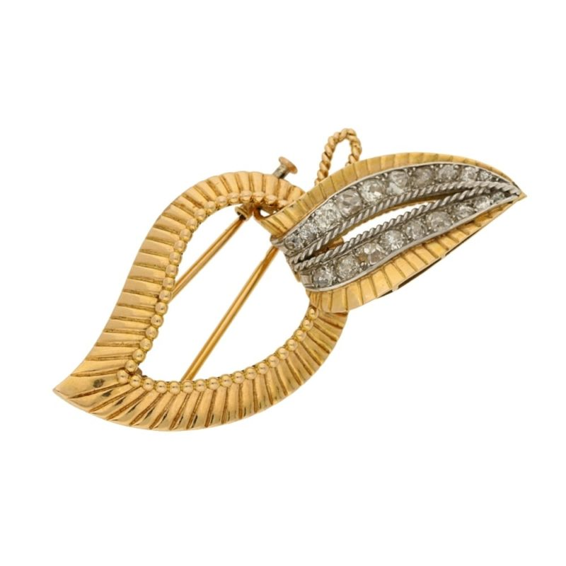 Mellerio foldable diamond leaf brooch in yellow gold, French