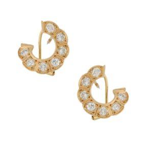 Diamond circle earrings in 18k gold