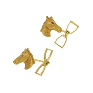Horse head and stirrup cufflinks
