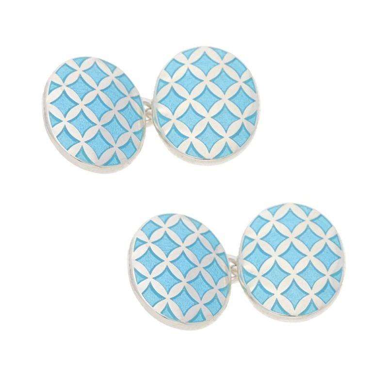 A pair of light blue enamel cufflinks in silver
