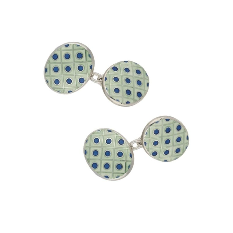 A pair of light green and blue silver cufflinks