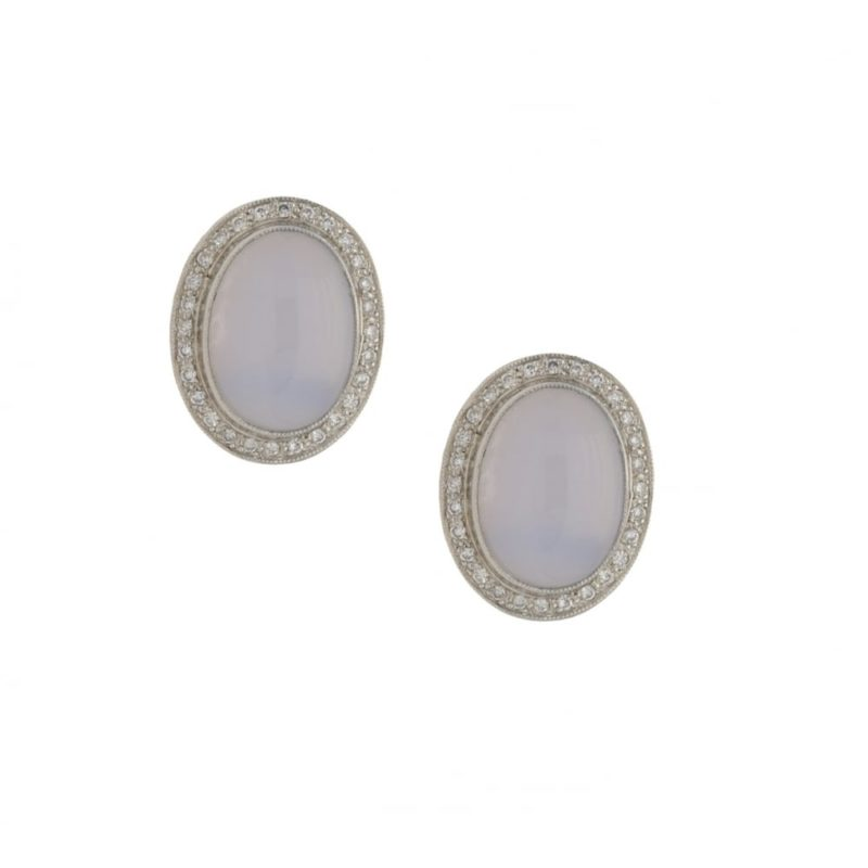 A pair of chalcedony and diamond earrings