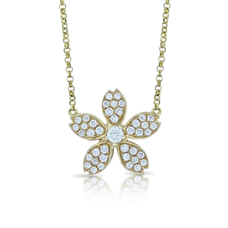 18ct yellow gold diamond floral pendant