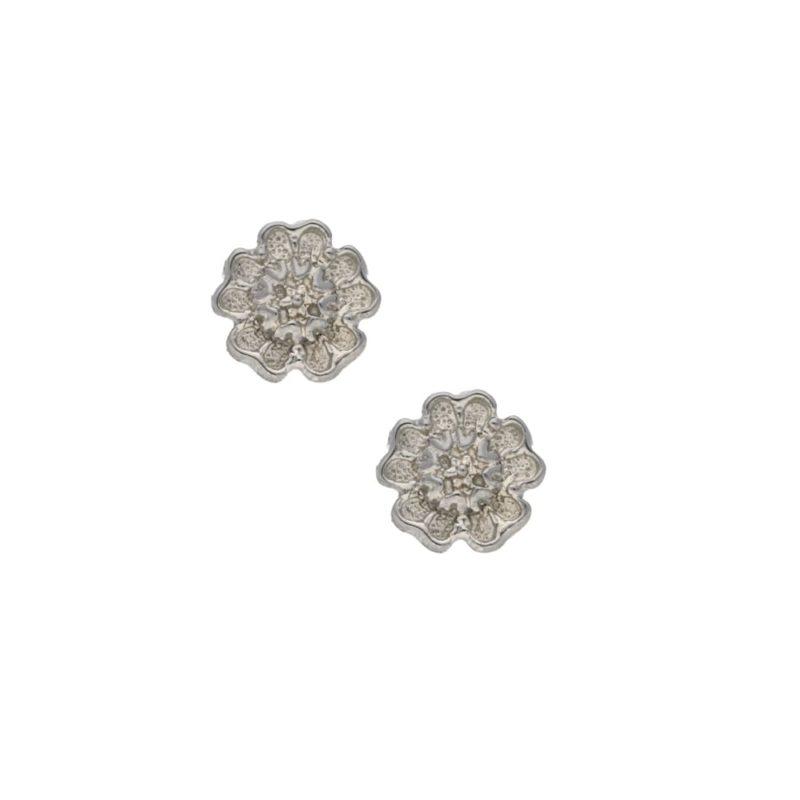 Petite 9kt White Gold Hibiscus Stud Earrings