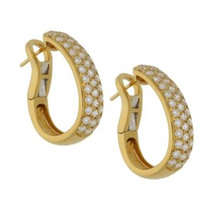 18ct yellow gold diamond set hoop earrings
