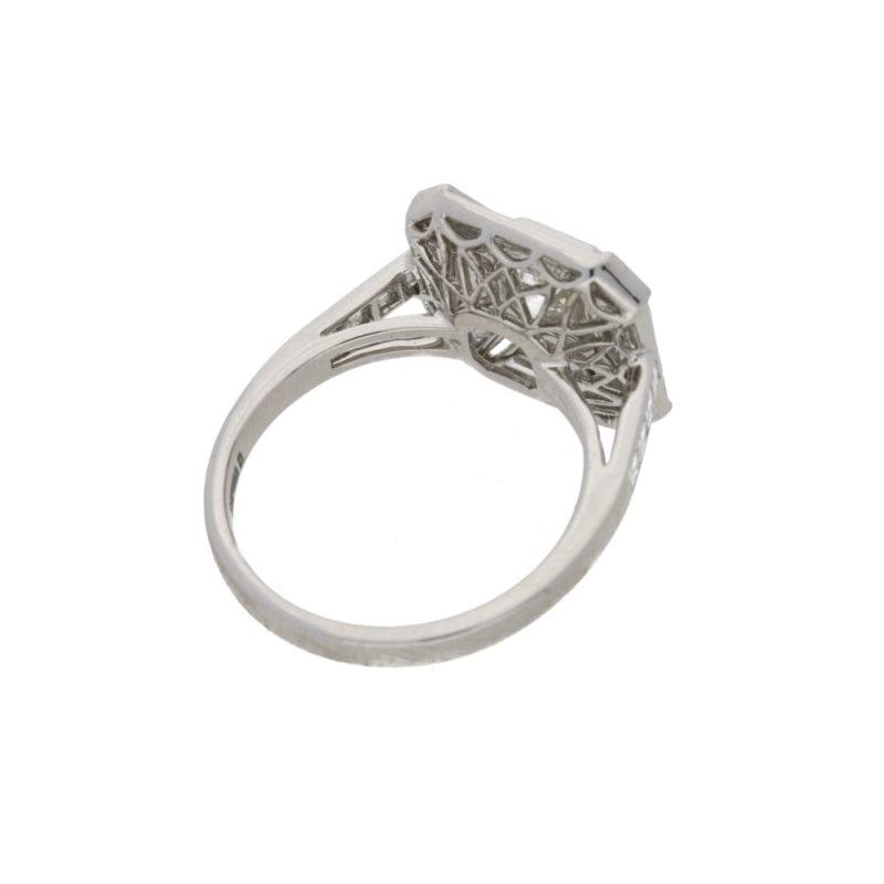 Deco style asscher cut diamond cluster ring