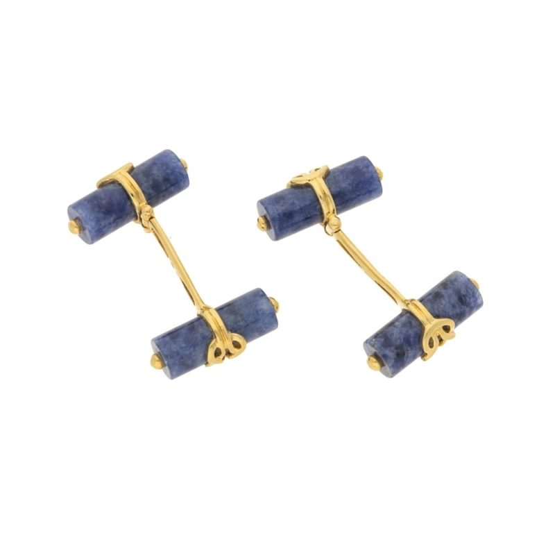A pair of 18k Gold and Sodalite Cufflinks