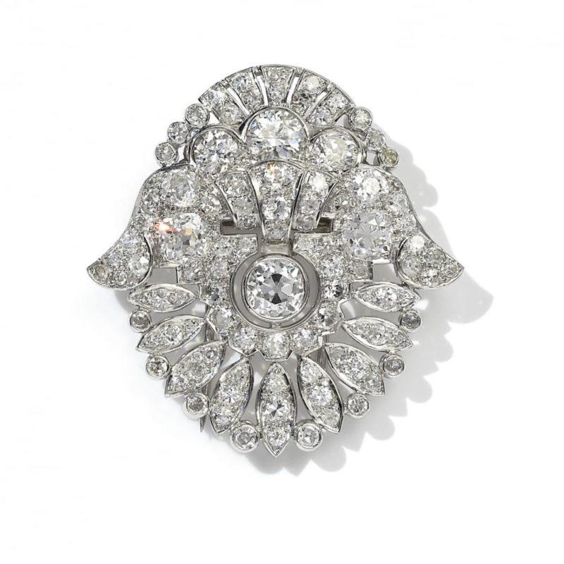 Art Deco Convertible Diamond Tiara in Platinum, Cased by Garrard